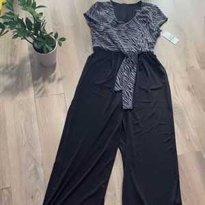 Karen Kane Black & Silver Jumpsuit with Tie Detail